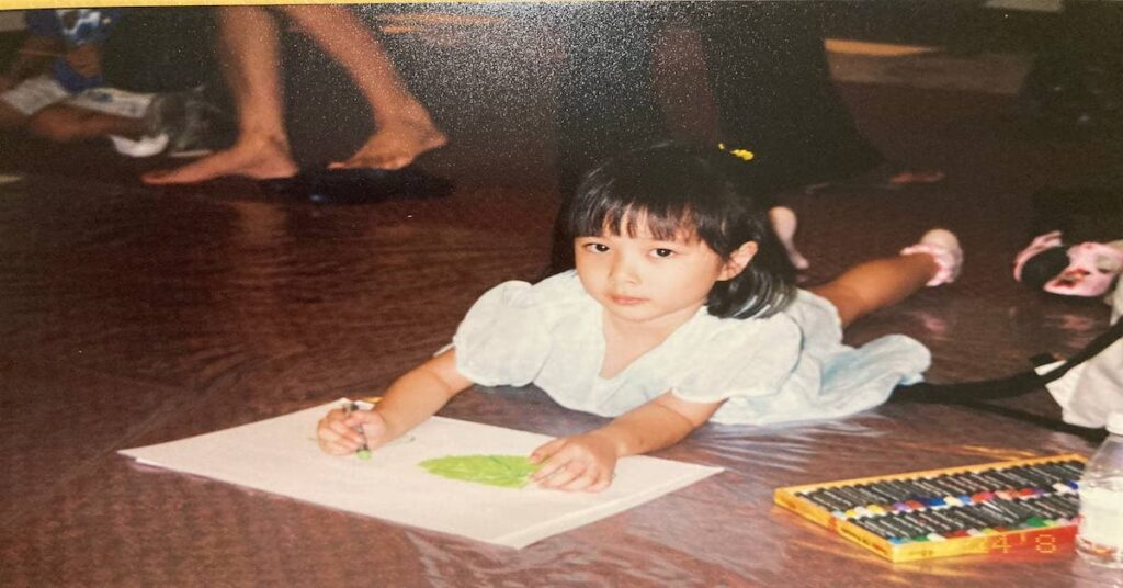 Celine Chia, with her first starter kit 2001