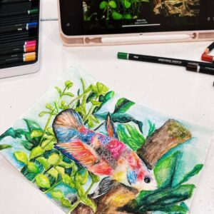 Water colour painting -Commission for Melvyn's fish 2 by Artist Celine Chia