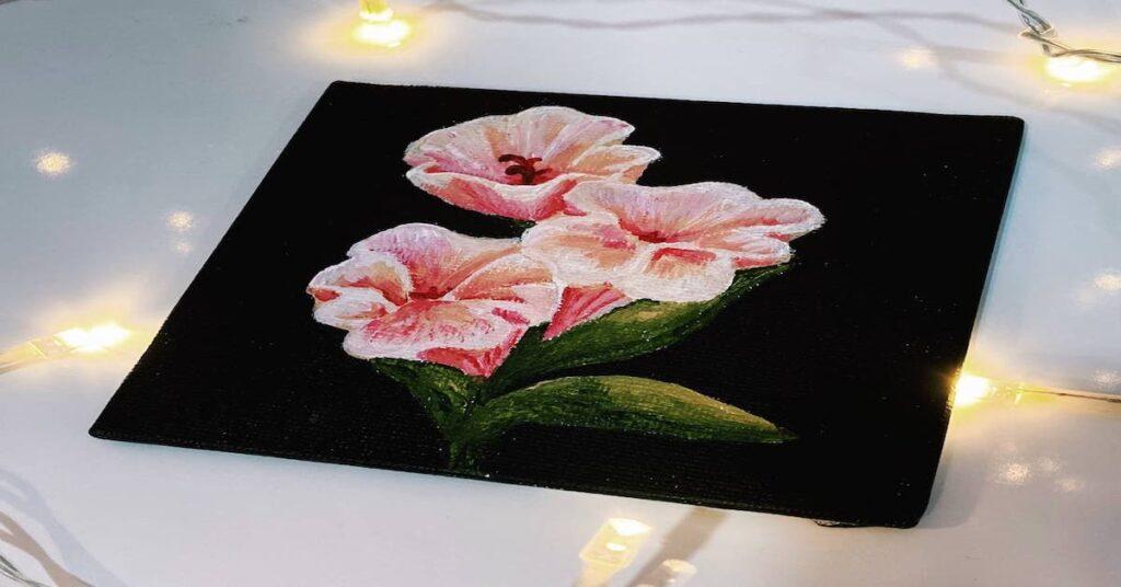 Acrylic Painting Singapore - Sweet pea coaster canvas
