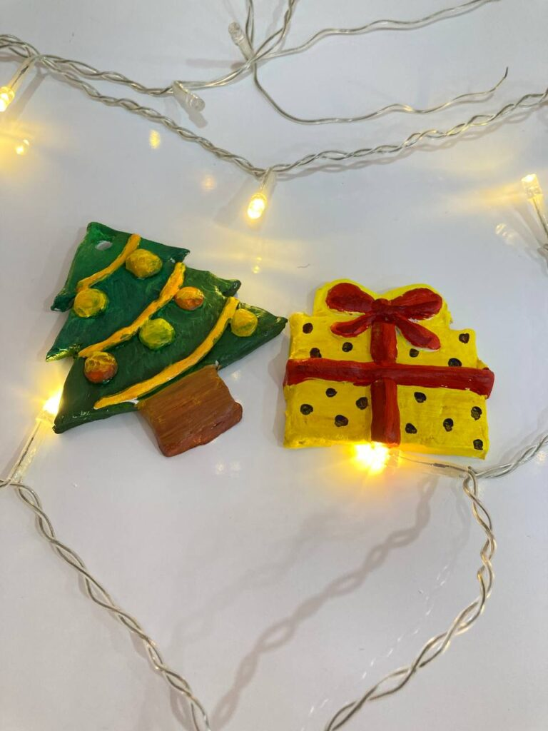 Air Dry Clay art Christmas Ornaments After Painting by Artist Celine Chia in Singapore