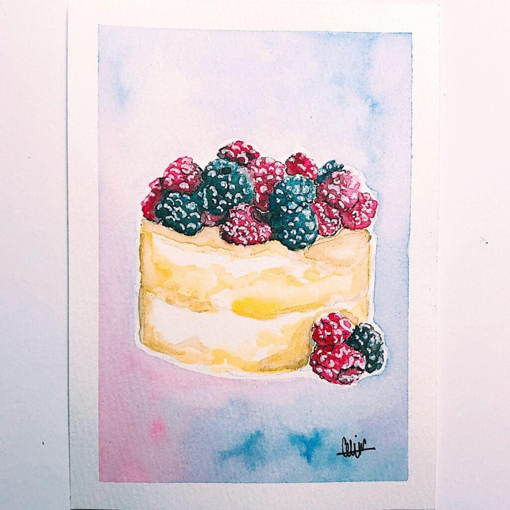 Berry Cake background painted using wet-on-wet techniques