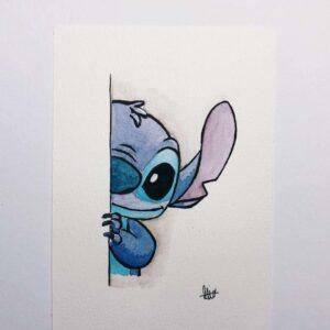 stitch 1 Custom Card by Artist Celine Chia, postcard painting workshop
