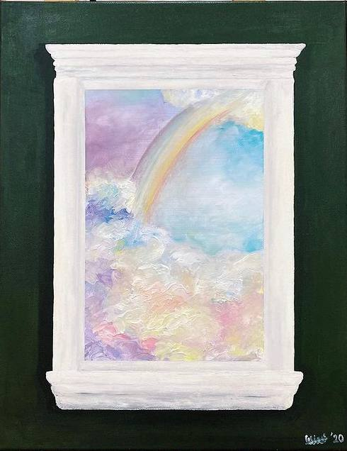 Acrylic painting scenery - rainbow and clouds