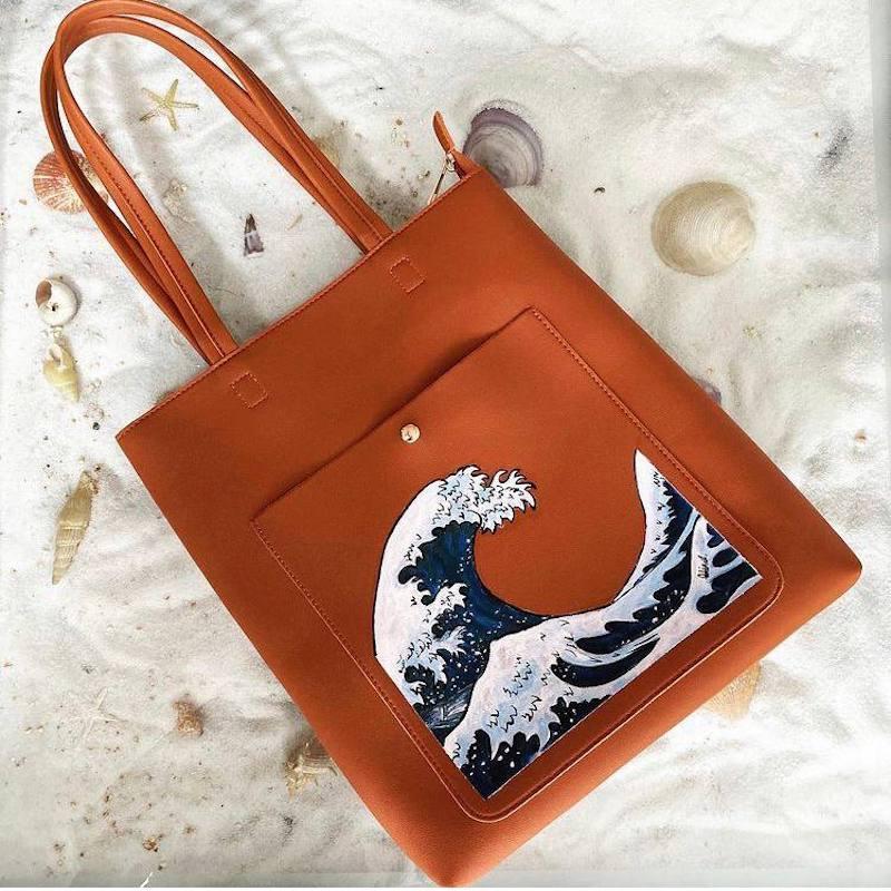 Acrylic Painting - Hanagawa Waves Tote Bag