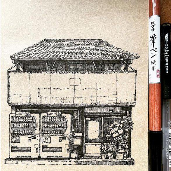 Japan-style buildings, Artist Joel Rong, 2021