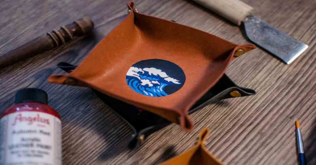 Leather Painting in Singapore - leather painted valet tray