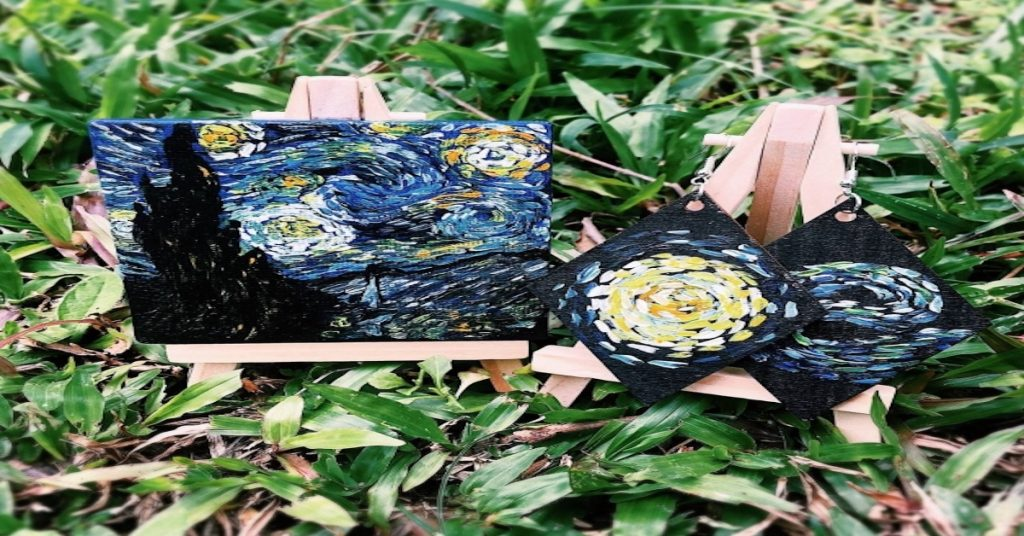 Mini canvas painting for beginners - starry night by artist celine chia, 2020