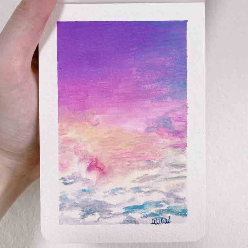 Paint Your Own Postcard: Shimmering Sunset