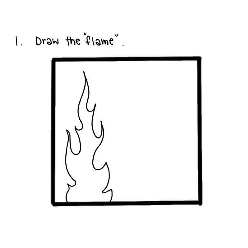 Starry Night Mini Canvas- step 1, draw the flame.