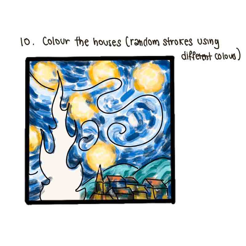 Starry Night Mini Canvas- step 10, colour the houses