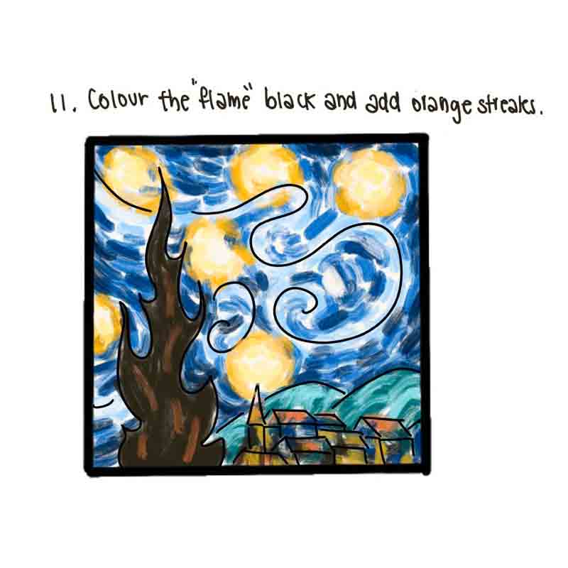 Starry Night Mini Canvas- step 11, colour the flame.