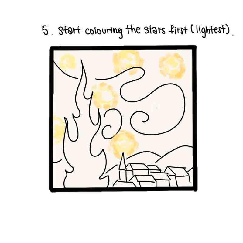 Starry Night Mini Canvas- step 5, colour the stars