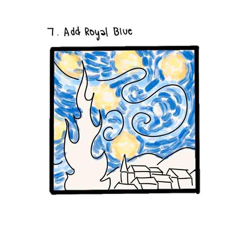 Starry Night Mini Canvas- step 7, Add royal Blue