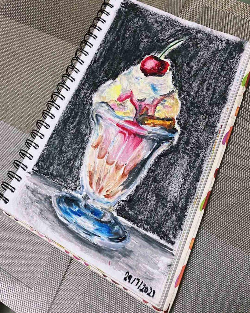 Ice Cream Parfait (2021), Artist Celine Chia, Oil Pastel Still Life Drawing