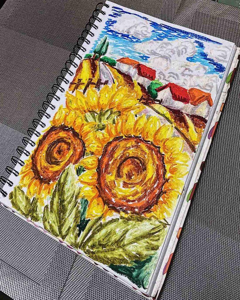 Oil Pastel Still Life Drawing -Sunflowers (2021), Artist Celine Chia