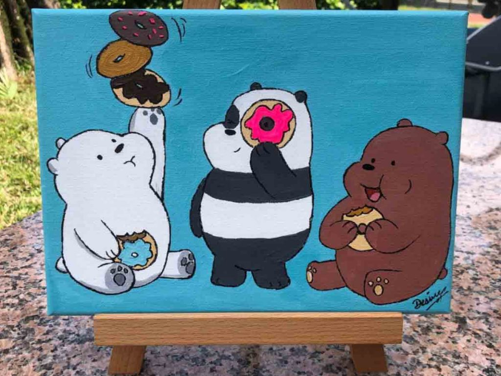 Comic Drawing Singapore - We Bare Bears Acrylic Art