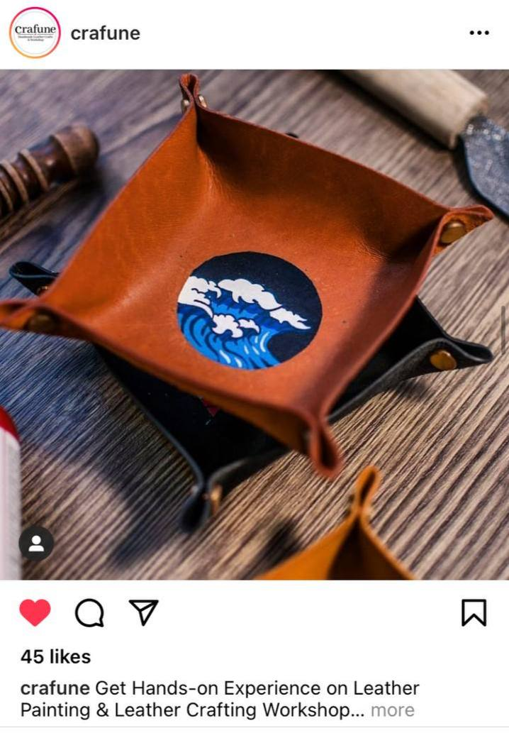 Social Media Post for Crafune, leather crafting workshop