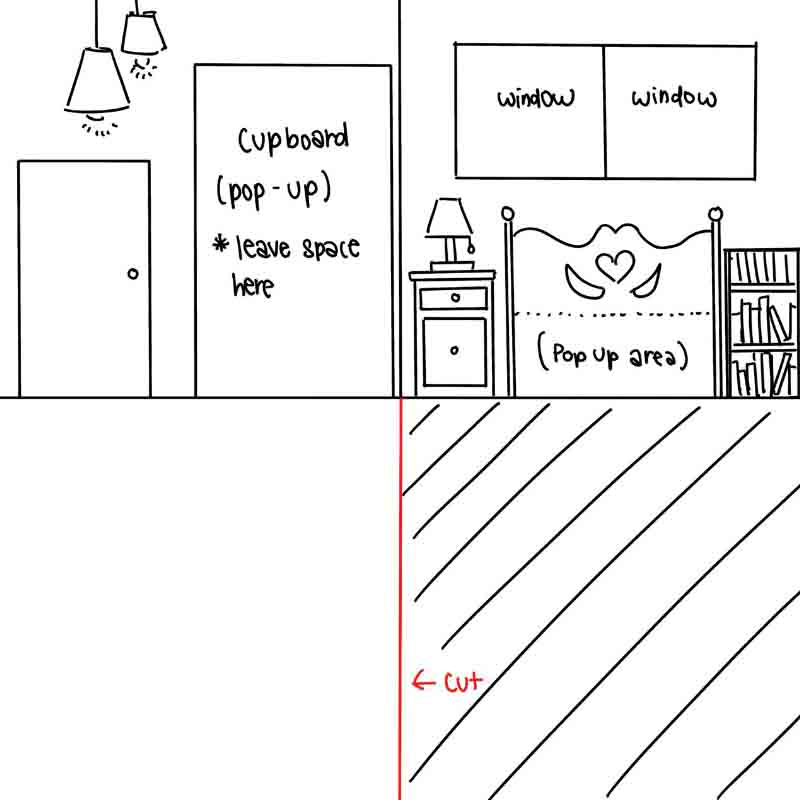 Paper Dollhouse Craft Step 3: Draw Out your Preferred Theme/Layout