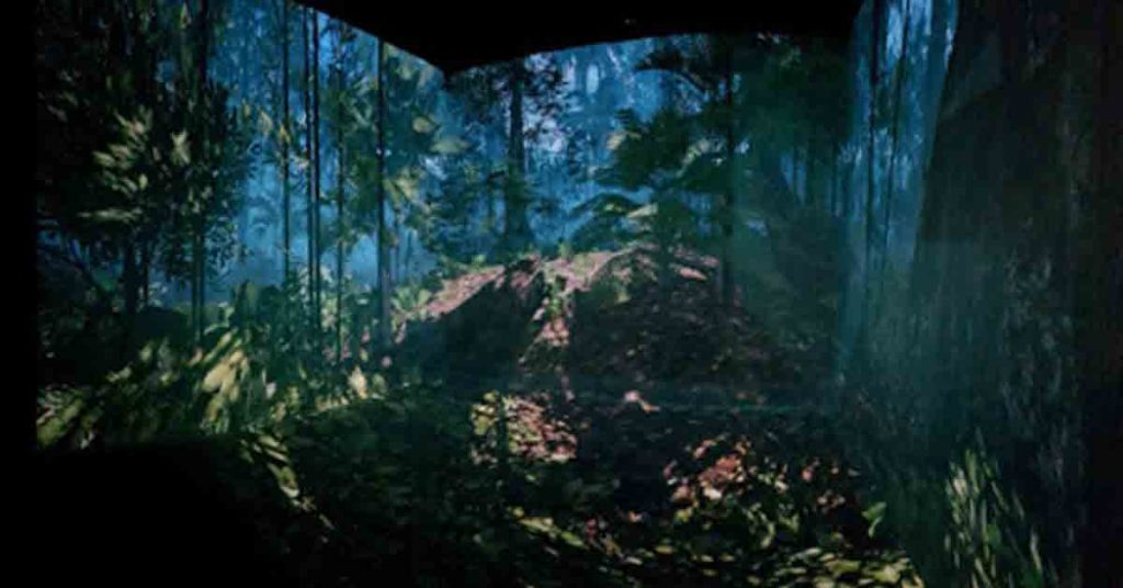 Fully Immersive Virtual Reality Cave, showcasing rainforest simulation and training (Environmental Multimedia)